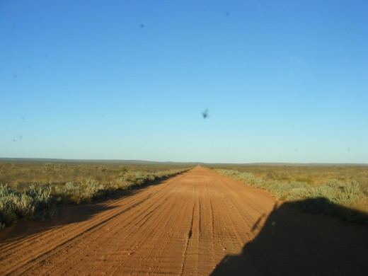 The tanami desert, flat as far as the eye can see, late on afternoon two.