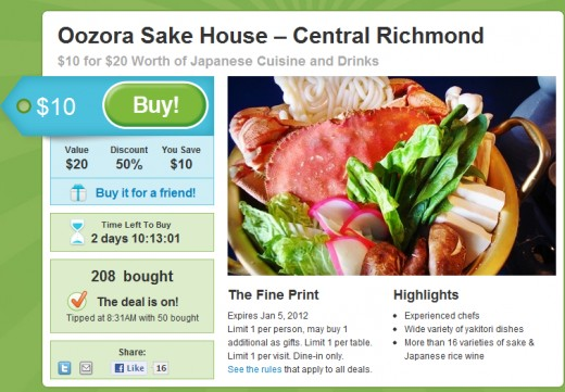 Groupon Offer for San Francisco, as found on July 2, 2011