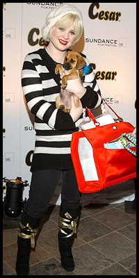 Kelly Osbourne shows her Puggle.