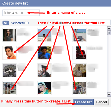 Create a New Facebook List