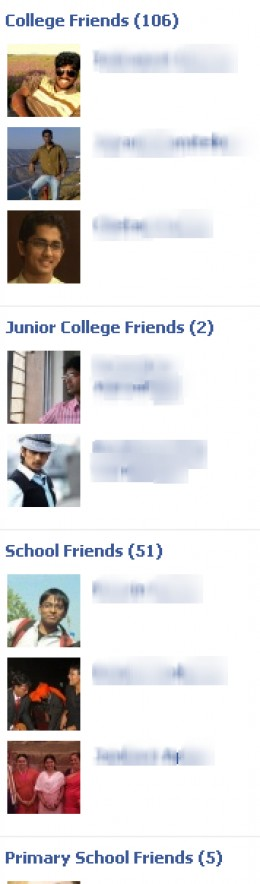 Facebook Friend Lists in a sidebar of a Facebook Profile.
