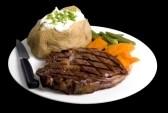 Ribeye, Baked Potato, Vegetable