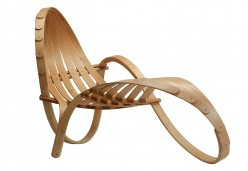 This oak slat chaise lounge (or chaise longue) was made by Wikimedia Commons user Tom Raffiled.