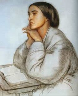 Portrait of Christina Rossetti painted by her brothers, Dante Rossetti.