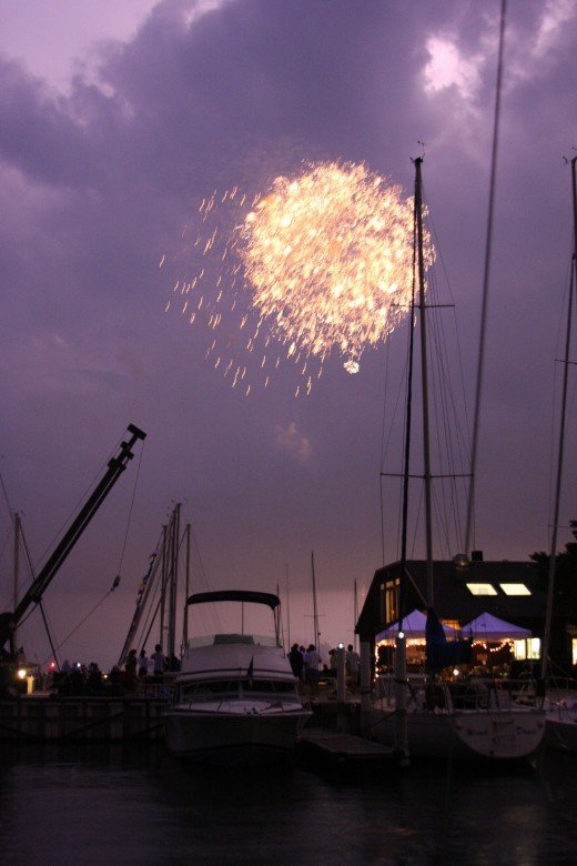 A severe thunderstorm nearly caused the fireworks to be cancelled.