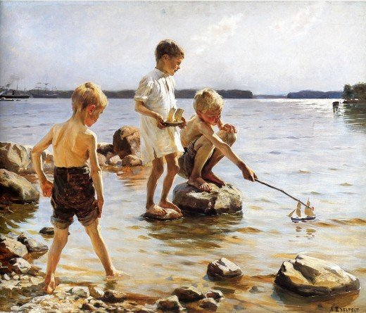 Albert Edelfelt, Boys Playing at the Beach