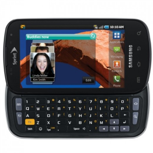Samsung Epic 4G, with keyboard extended. You can see 5 rows of keys as well as cursor keys and other function buttons