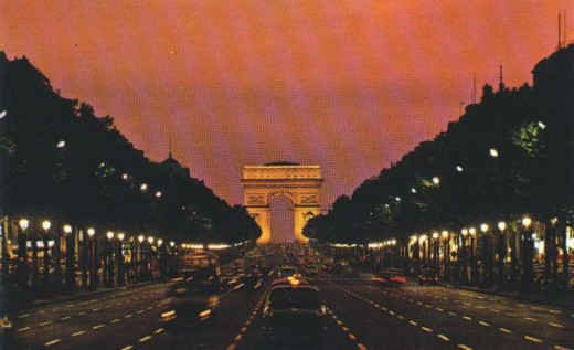 Distant shot of the Arc de Triomphe and Champs Elysees