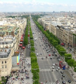 Champs Elysees during the day