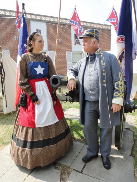 Image of Hetty Cary as portrayed by Stephanie Merson of Westminster, Md., with Gen. Joseph E. Johnston as portrayed by Ted Mikolaski of Long Island, N.Y.  Both are members of the Civil War Heritage Foundation.