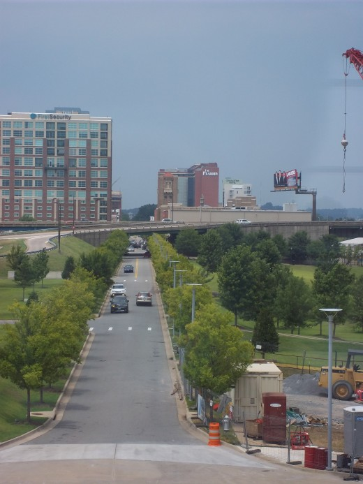 From the third story of the Clinton Presidential Center, up Clinton Ave/first street/markham