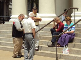 praying at courthouse in Bellefonte