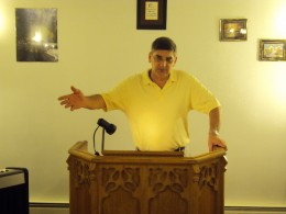 Evangelist Michael preaching in The Great American Fast