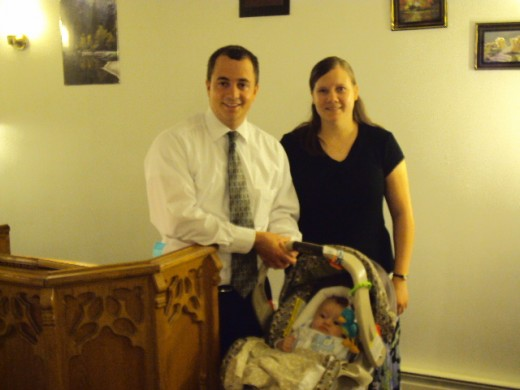 Missionary Sam & Wife Mary Beth and baby Thomas leadoff speaker at The Great American Fast