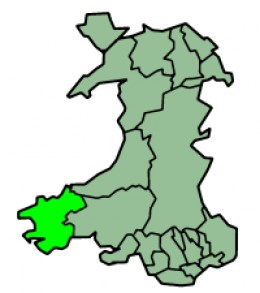 Map location of Pembrokeshire, Wales
