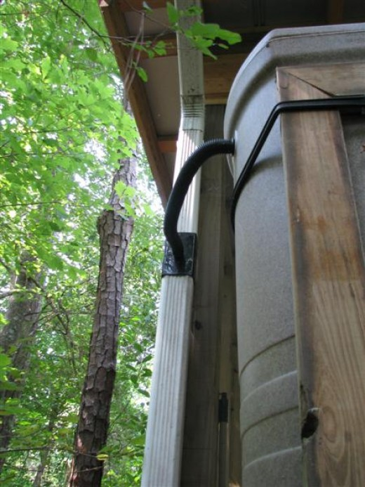 You cut a section out of the down spout so that the hose will be level.