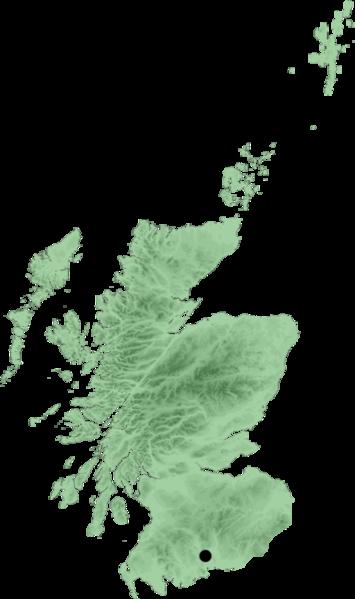 Map location of Lockerbie, Scotland