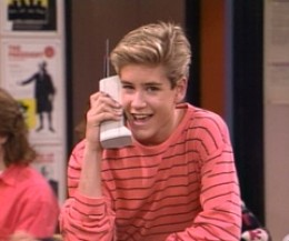 Zach Morris, on an early 90's TV series called 'Saved By the Bell', frequently used a primitive cell phone that is aptly called 'the brick phone' by people today.