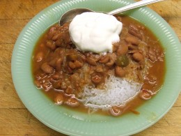 Serve over rice, pasta or noodles. Or simply have the pinto beans alone.  I used No-Carb noodles. Dot with sour cream and serve.