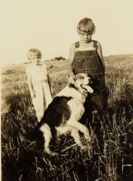 My mother and her older sister with the dog Rover in North Dakota.  August 10, 1930.