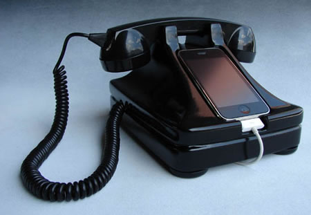 The iRetrofone base brings together old and new phone technologies.