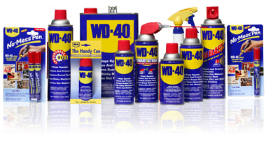 From the industrial sized can to the convenient purse-sized pen, for more than fifty years WD-40's familiar blue and gold trademark and red top have been the American household name for in all purpose products.