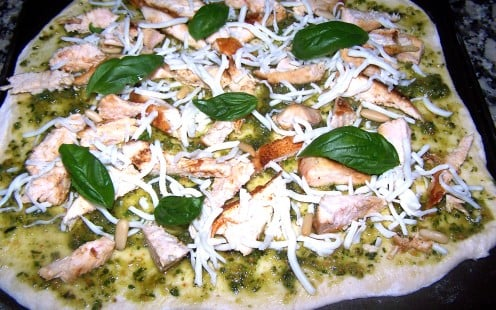 Homemade Chicken Pesto and Pine Nut Pizza Recipe