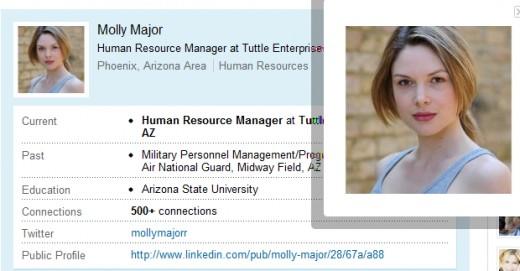 Molly Major, former military experience? Really?