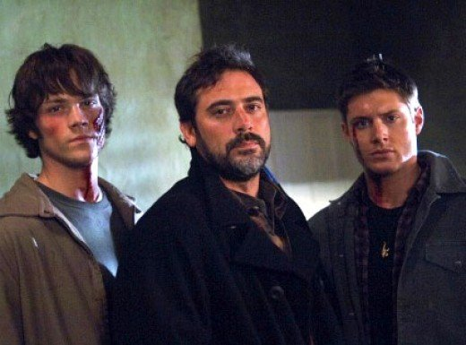 Jared Padalecki as Sam Winchester, Jeffrey Dean Morgan as John Winchester, and Jensen Ackles as Dean Winchester