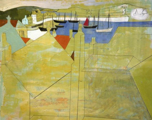 Harbour at St. Ives - Myatt Forgery in the style of Nicholson