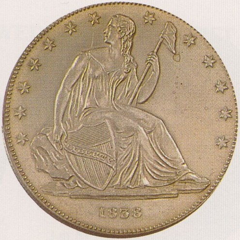 A pattern design with the stars on the front of the coin.