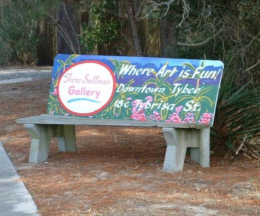 Bench Art Advertising on Tybee Island