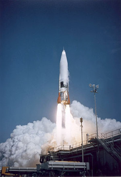 Convair used the Rocket Chemical Company's new WD-40 product to protect the outer skin of their SM-65 Atlas Missile, like this one, seen at Cape Canaveral  launch, 20 February 1958.