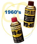 WD-40 made it's commercial debut in 1958, the short, squat-looking aerosol can wore the yellow and brown color scheme familiar to Convair employee.. The iconic blue and gold packaging with the distinct red cap, would not appear until 1960