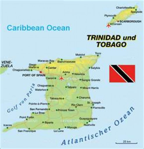 Trinidad and Tobago. In terms of absolute location, the country is 10'40N 61'31W.  A relative location may describe Trinidad as the southernmost Caribbean island or a few kilometres north of South America.