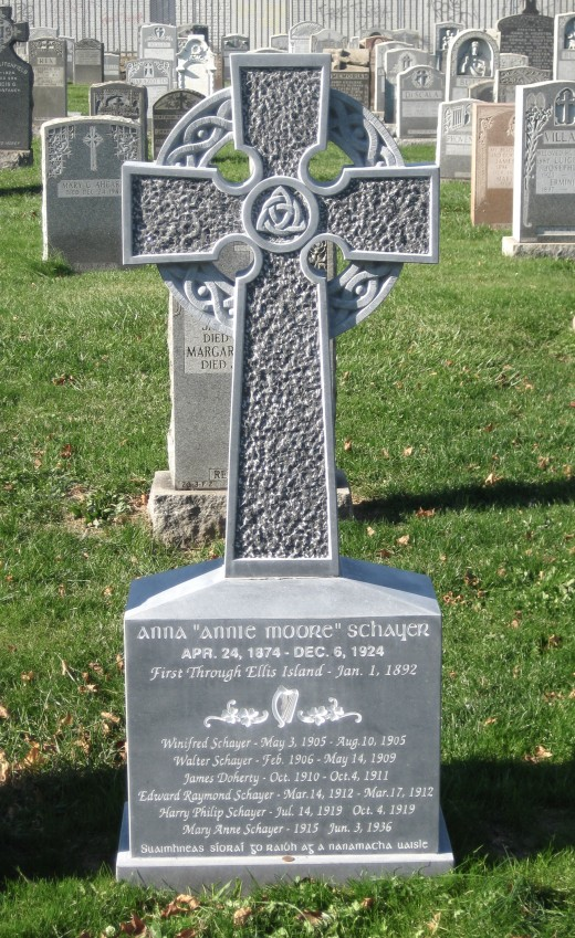 Grave marker for Annie Moore at Calvary Cemetery, Queens, N.Y.