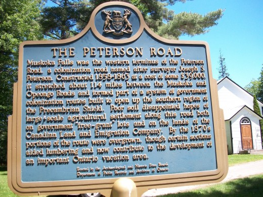 Commemorative plaque for the Peterson Road, by the United Church, at Muskoka Falls, Ontario