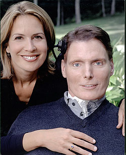 Dana and Christopher Reeves. Together again and in a place where he is free from wheelchairs and breathing apparatus.