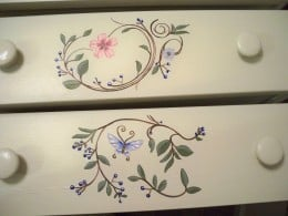 Have fun when painting a little dresser such as this and let the child in you pop out!