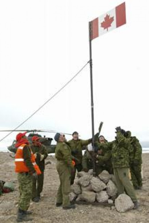 Canadian Flag raising on Hans Island