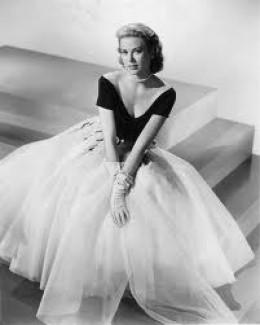 """Grace in the Edith Head """"cloud"""" dress."""