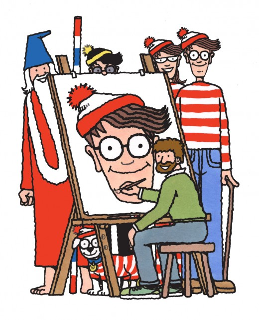 The creator Martin Handford with his characters: Waldo, Wenda, Odlaw, Wizard Whitebeard and Woof