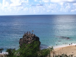 Jumping off the 25-foot high rock at Waimea Bay is a 'must-do' activity at the North Shore.
