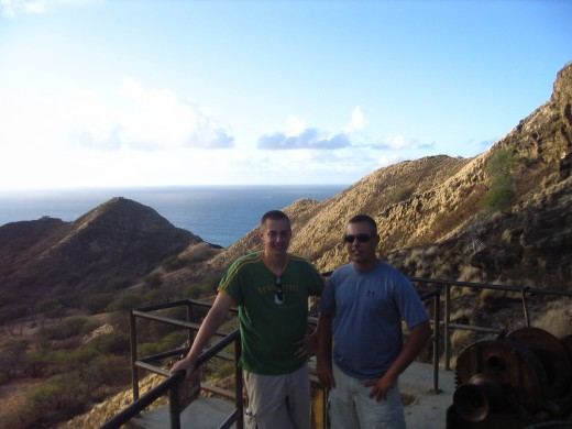 Sam (L) and CJ pausing at the concrete landing/lookout on the way to the top of Diamond Head