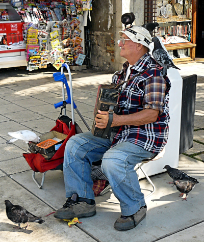 The Riva's famous 'Pigeon Man'