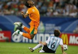 Of all the soccer superstars, Didier Drogba falls the hardest. It looks rather painful even. You might want to try him out first.