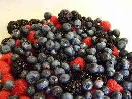 Strawberries, blueberries, and blackberries.