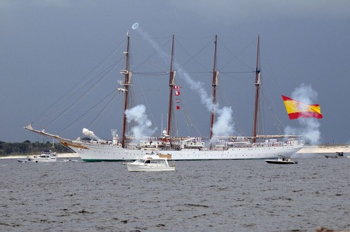 The Spanish Navy vessel Juan Sebastian de Elcano and the King and Queen of Spain arrived to celebrate Pensacola in 2009.