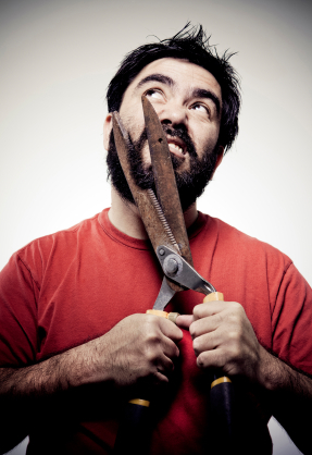 No, do not cut off your scraggly beard; it scares the pests away.  Besides, it's pointless; no one will see you, so just throw away the mirror.