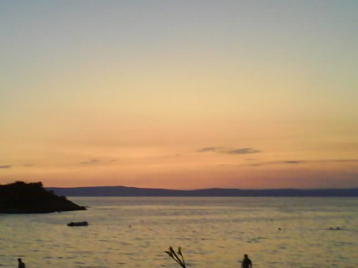 Insel Rab, Croatia - A beautiful day is gone, the night is coming. We enjoyed our dinner and the pancakes desserts, one of Croatian's speciality.